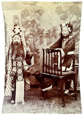 1890 CHINA - Guangxu Period Photograph - TWO ACTORS in EXQUISITE COSTUME - Rare