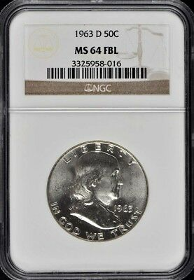 1963-D Franklin Half Dollar 50C NGC MS64FBL
