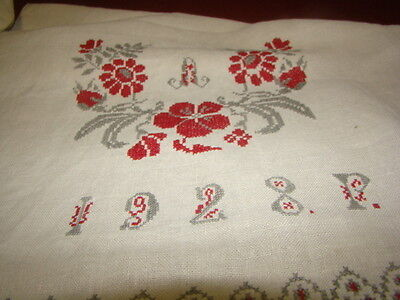 Vintage Ukrainian embroidered homespun linen rushnyk  Poltava region  1928's # 3