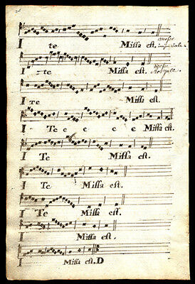 The Dismissal From The Mass 1778 French Hymnal Manuscript Leaf  French & Latin