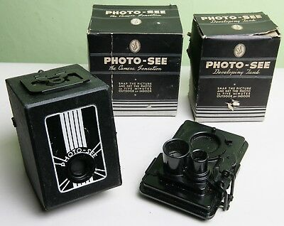 Unusual American 'photo-See' Plate Film Box Camera And Developing Tank