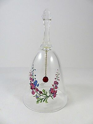 Avon Lead Crystal Birthday Bell July Vintage 1986 Larkspur Clear With Flowers