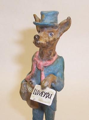 COLD PAINTED BRONZE Miniature GREYHOUND/WHIPPET Love Letter MAIL MAN Postman DOG