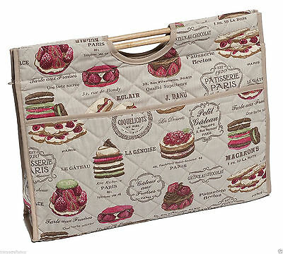 Knitting Bag Sewing Bag with wood handles 100% cotton Patisserie 11x43x33.5cm