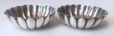 """Pair Antique Sterling Silver MAster Salts Bowls Dishes Hallmark """"R"""" with Anchor"""