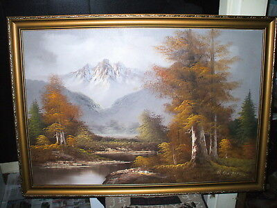 Large Original Oil On Board Painting - Snowy Mountain / River Scene / R. Nelson