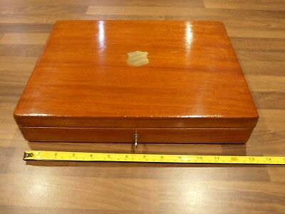 Antique Mahogany Lined Collectors Box with lift out tray . lock & key