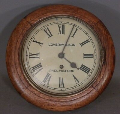 Ca.1910 Antique ENGLISH OAK Old SCHOOL HOUSE Type ROUND Loveday & Son WALL CLOCK