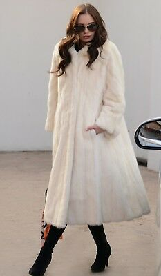 New Ivory Mink Fur Long Coat Class Of Russian Sable Chinchilla Jacket Vest White