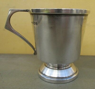 Antique George VI sterling silver christening mug, 1938, 96 grams