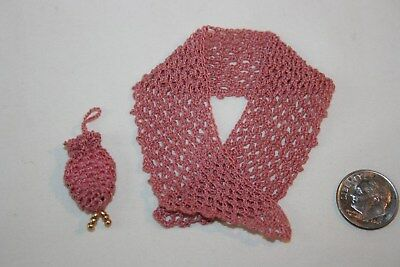 Miniature Dollhouse Finely Hand Crocheted Victorian Shawl & Purse Germany 1:12