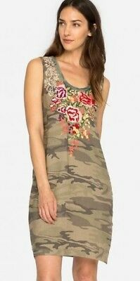 86c5c602109 NWT JOHNNY WAS Adeline Draped Tunic Dress S lush embroidery on gray ...