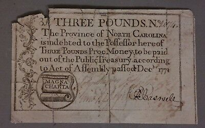 1771 Antique COLONIAL Money OLD CURRENCY 18thC NC NORTH CAROLINA 3 Pound NOTE