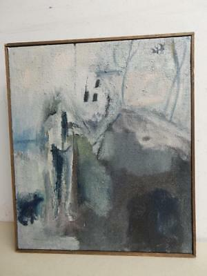 vintage OLD PAINTING oil impressionist WINTER signed