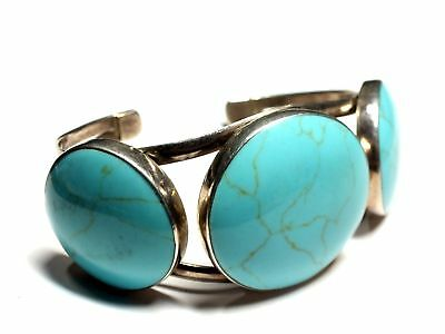 """925 STERLING SILVER Round Faux TURQUOISE Cuff Bracelet,  7"""" 42.48g - B98"""