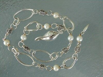 Nice Beautiful Sterling Silver & 14K Gold Pearl Bead Michael Dawkins Necklace