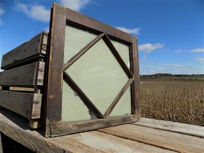 Window Wood Framed Decorative Glass Panel Architectural Salvage Vintage a