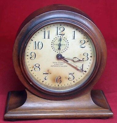 Seth Thomas 8-Day Automatic Alarm Mantel Clock - Vintage - Parts/Repair