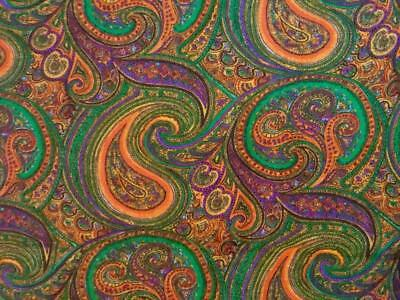 TRUE Vintage Mid-Century Modern Fabric~1960's~Paisley~Orange Purple Green~2 yds.