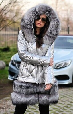 2019 Silver Down Fox Fur Coat Hood Class Sable Chinchilla Mink Jacket Parka Vest