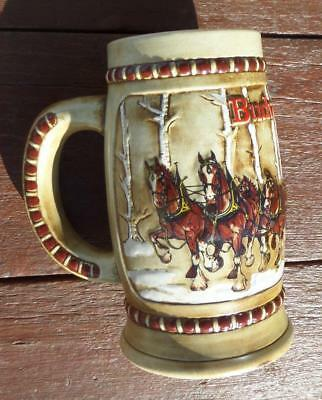 1981 Budweiser Champion Clydesdales Holiday Stein 2nd Series Holiday Ex!