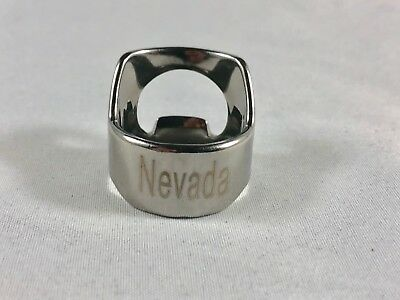 Nevada Beer Bottle Opener Ring Stainless Steel Engraved Bar Tool