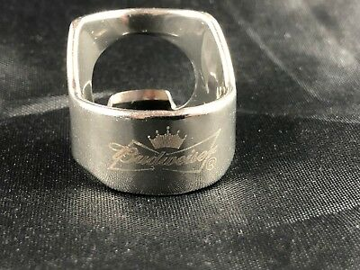 Budweiser Beer Bottle Opener Ring Stainless Steel Engraved Bar Tool