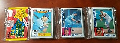 1984 Topps Unopened Rack Pack 54 Cards GEORGE BRETT/ROBIN YOUNT Showing Royals