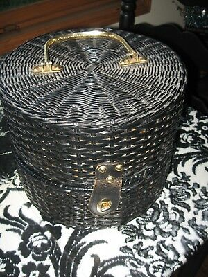 Patrice Wig Products Inc, Minneapolis, Minn Black Wicker Style Wig Carrier