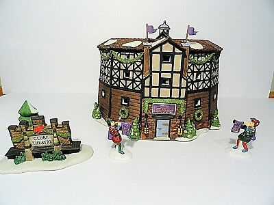 """Dept 56 Dickens Village """"The Old Globe Theatre"""" set of 4  Excellent!"""