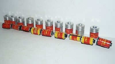 LOT OF 10 Vintage 35mm Anscochrome Camera Film in Aluminum Canisters
