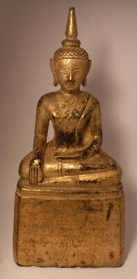 Vintage Antique Thai Southeast Asian Carved Gilt Wood Inscribed Buddha Statue **
