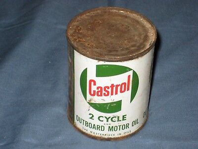 Vintage Castrol Outboard 2 Cycle Motor Oil Can 1/2 Pint Full Old Advertising