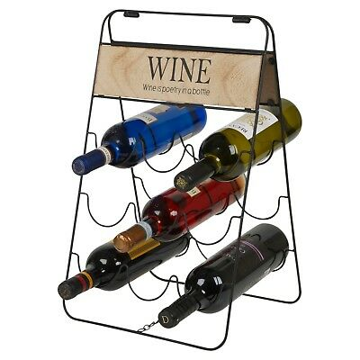 9 Wine Bottles Vintage Wire Wooden Metal Rack Storage Holder Bar Display Stand