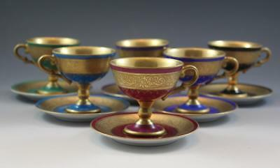 6 Continental Porcelain Footed Demitasse Tea Cups & Saucers Royal Vienna Style
