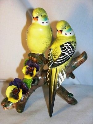vintage collectible parakeet 2 bird figurine  bright yellow
