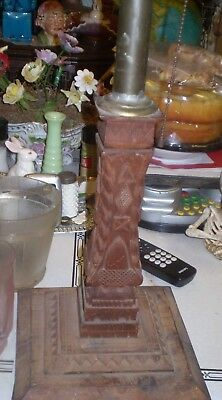 Antique hand carved Arts and Crafts ? Eastlake ?  lamp  20 high