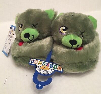 Zombie Slippers Kids L 1-2 Build A Bear NWT New Green Head Plush Nonslip