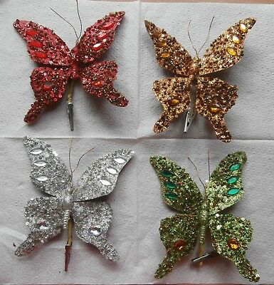 Lot of 4 Large Christmas Butterfly Ornaments Clip On Sequins and Jewels Pretty