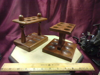 2 Vtg Tobacco Pipe Wood Stand Holder/Racks-hold 6 pipes-different bowl shape-F/S