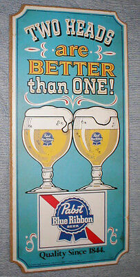 Vintage PABST BLUE RIBBON BEER BAR SIGN Two Heads Are Better Than One! advertise
