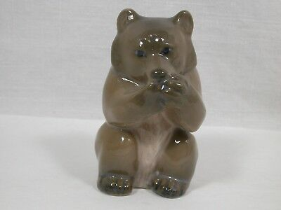 Royal Copenhagen Denmark Brown Grey Bear Cub Eating Figure Knud Kyhn #3014 MINT