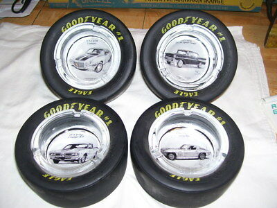 Set of 4 Goodyear Tire Ashtrays Dale Adkin Chevy Dodge Car Artwork Pictures
