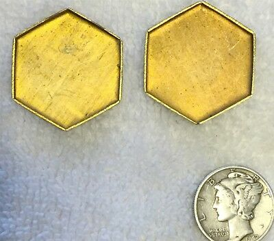 Vintage Rare Hexagon Shape Brass Settings Mountings 12 Pcs