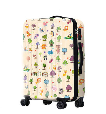 A666 Lock Universal Wheel Cartoon Travel Suitcase Cabin Luggage 24 Inches W