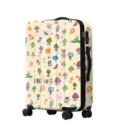 A665 Lock Universal Wheel Cartoon Travel Suitcase Cabin Luggage 20 Inches W