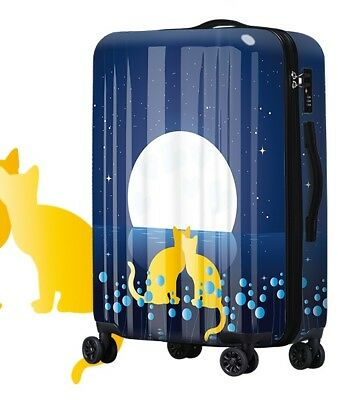 A104 Lock Universal Wheel Cat Lovers Travel Suitcase Cabin Luggage 20 Inches W