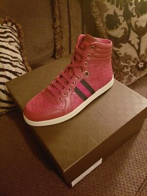 23a0539a107 GUCCI Mens cranberry CODA GUCCISSIMA leather High Top Sneakers NIB Authentic