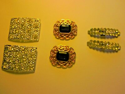 3 Sets Of Vintage Shoe Clips Silver Rhinestone & Gold Brushed Victorian