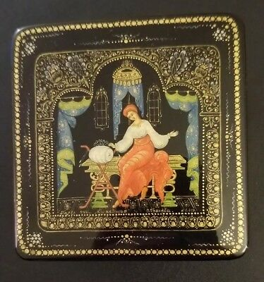 Palekh Russian Lacquer Box LACEMAKER